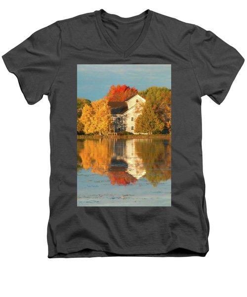 Iola Mill Fall Reflection Men's V-Neck T-Shirt by Trey Foerster