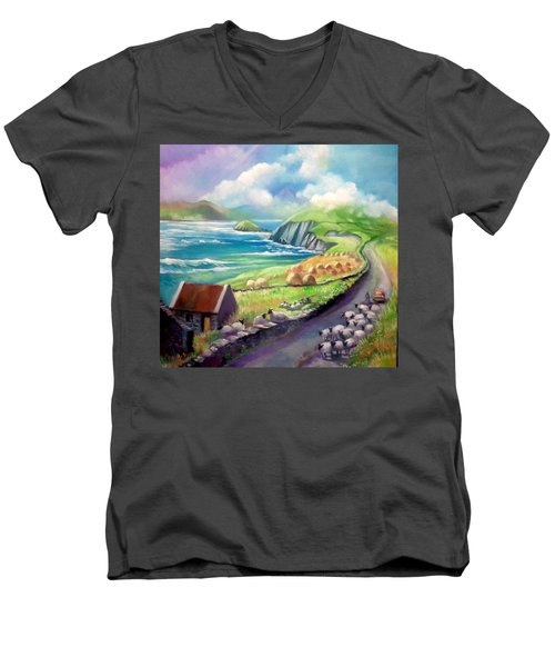 Men's V-Neck T-Shirt featuring the painting Ireland Co Kerry by Paul Weerasekera