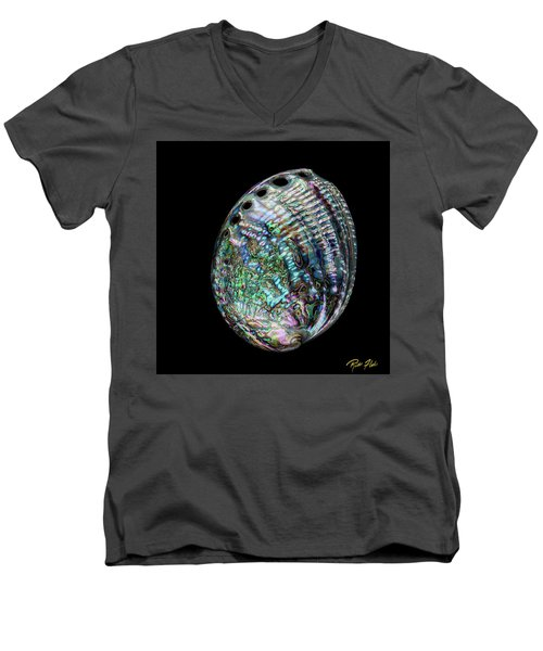 Men's V-Neck T-Shirt featuring the photograph Iridescence On The Half-shell by Rikk Flohr