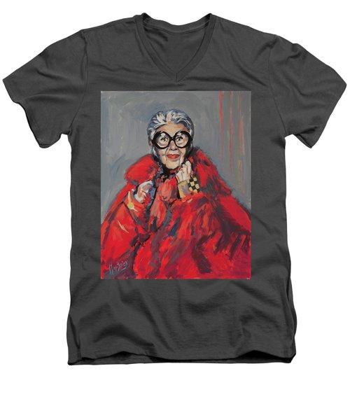 Iris Apfel Style Icon Men's V-Neck T-Shirt by Nop Briex