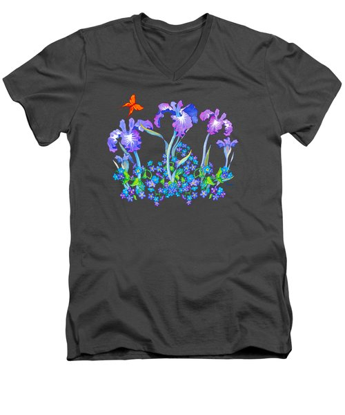 Iris Bouquet With Forget Me Nots Men's V-Neck T-Shirt by Teresa Ascone