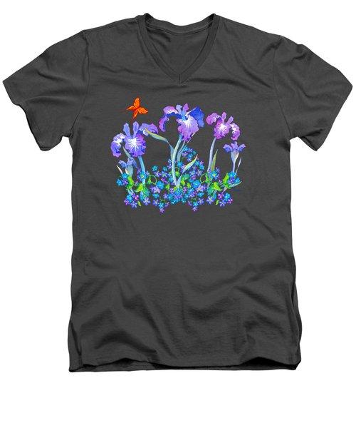 Iris Bouquet With Forget Me Nots Men's V-Neck T-Shirt