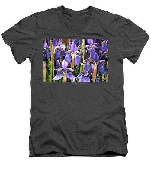 Men's V-Neck T-Shirt featuring the photograph Iris Fantasy by Benanne Stiens