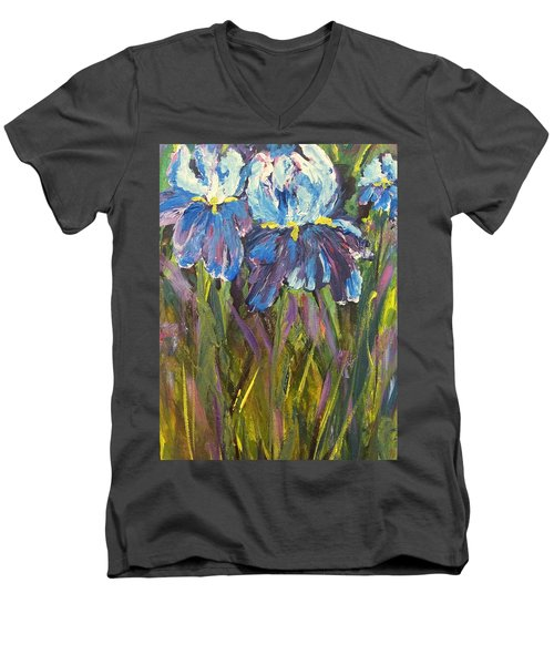Iris Floral Garden Men's V-Neck T-Shirt
