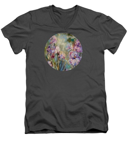 Men's V-Neck T-Shirt featuring the painting Iris Garden by Mary Wolf