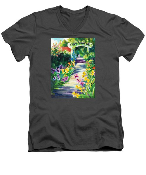 Men's V-Neck T-Shirt featuring the painting Iris Garden Walkway   by Kathy Braud