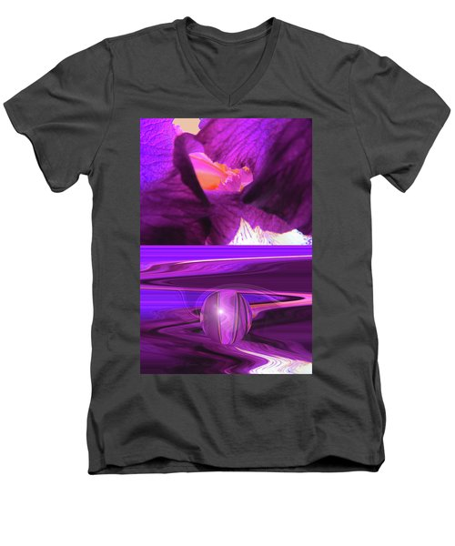 Before And After - Iris Macro And Manipulated Iris Macro Men's V-Neck T-Shirt