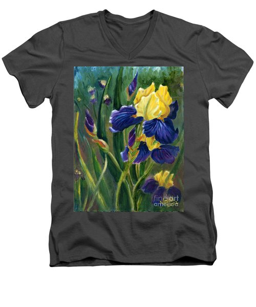 Men's V-Neck T-Shirt featuring the painting Iris by Renate Nadi Wesley