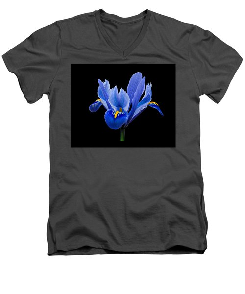 Men's V-Neck T-Shirt featuring the photograph Iris Reticulata, Black Background by Paul Gulliver