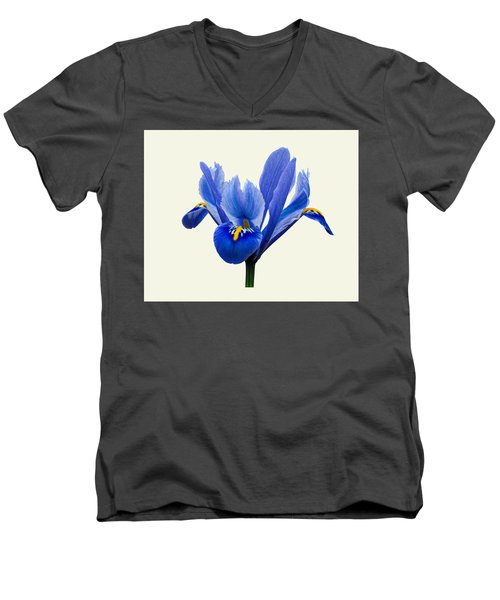 Men's V-Neck T-Shirt featuring the photograph Iris Reticulata, Cream Background by Paul Gulliver