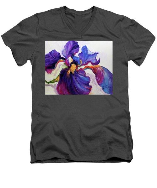 Iris Serenity Men's V-Neck T-Shirt by Marcia Baldwin