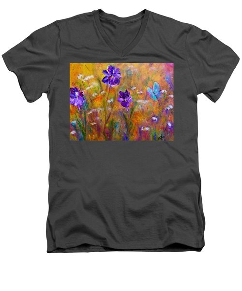 Iris Wildflowers And Butterfly Men's V-Neck T-Shirt