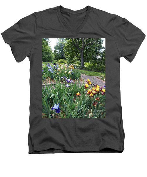 Iris With Trees Men's V-Neck T-Shirt by Nancy Kane Chapman