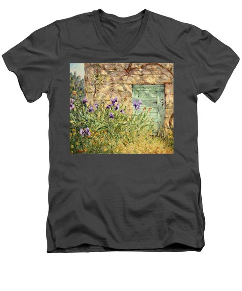 Irises At The Old Barn Men's V-Neck T-Shirt