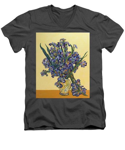 Irises  Men's V-Neck T-Shirt by Erika Pochybova