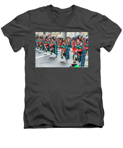 St. Patrick Day Parade In New York Men's V-Neck T-Shirt
