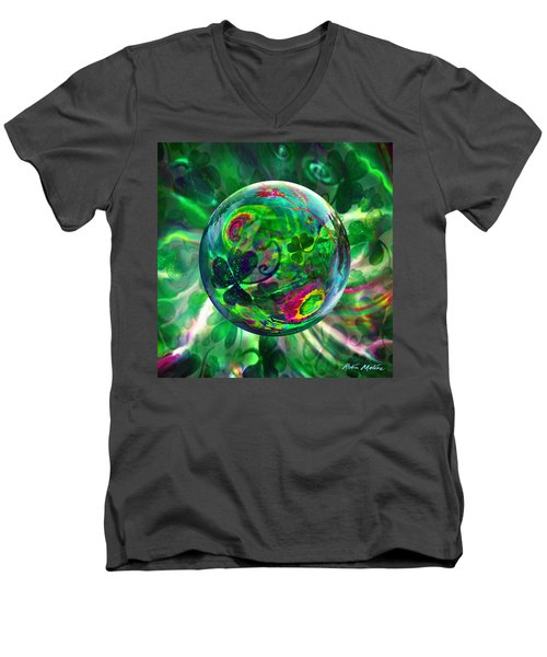 Men's V-Neck T-Shirt featuring the painting Irish Charms by Robin Moline
