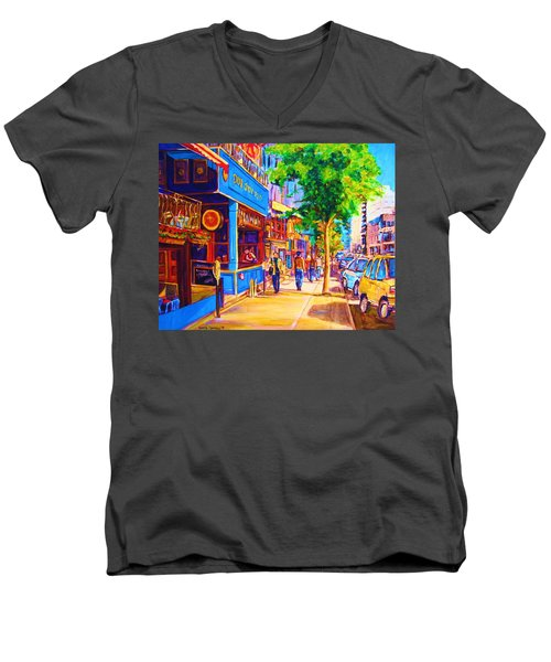 Men's V-Neck T-Shirt featuring the painting Irish Pub On Crescent Street by Carole Spandau