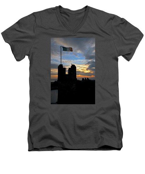 Irish Sunset Over Ramparts 1 Men's V-Neck T-Shirt