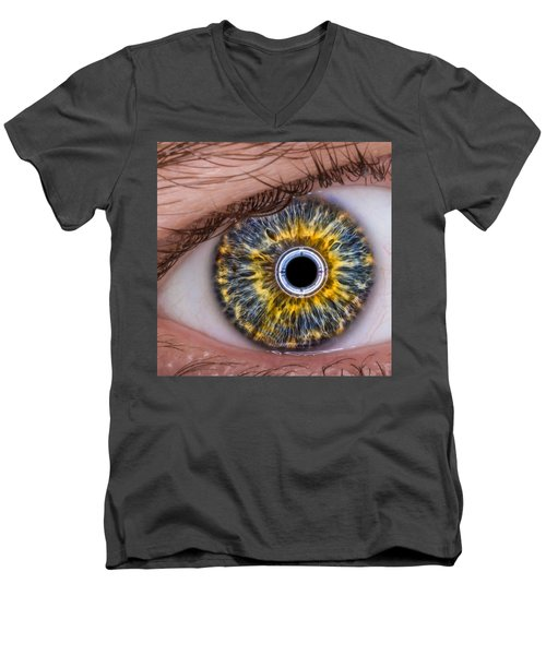 Men's V-Neck T-Shirt featuring the photograph iRobot Eye v2.o by TC Morgan