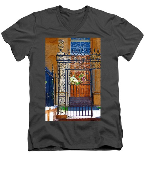 Men's V-Neck T-Shirt featuring the photograph Iron Gate by Donna Bentley
