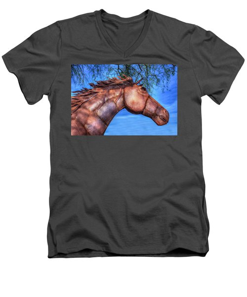 Men's V-Neck T-Shirt featuring the photograph Iron Horse by Paul Wear