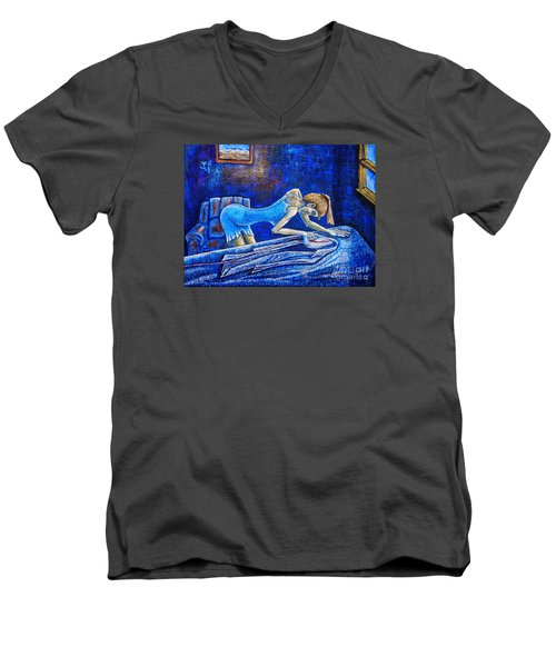 Men's V-Neck T-Shirt featuring the painting Ironing by Viktor Lazarev