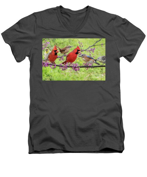 Men's V-Neck T-Shirt featuring the photograph Is It Spring Yet? by Bonnie Barry