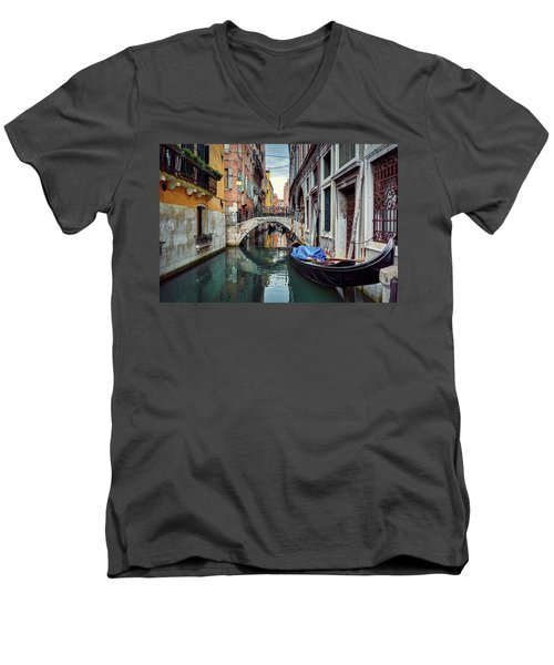 Gondola Parked On Lonely Water Canal In Venice, Italy Men's V-Neck T-Shirt