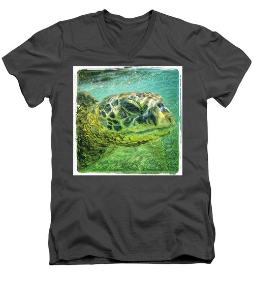 Men's V-Neck T-Shirt featuring the digital art Isabelle The Turtle by Erika Swartzkopf