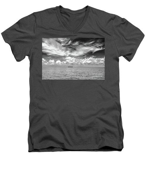 Island, Clouds, Sky, Water Men's V-Neck T-Shirt