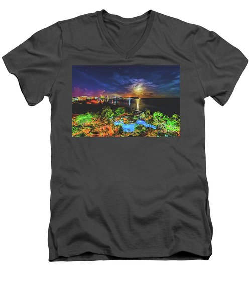 Men's V-Neck T-Shirt featuring the digital art Island Dream by Ray Shiu