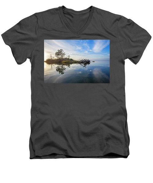 Men's V-Neck T-Shirt featuring the photograph Island Evening by Alan Raasch