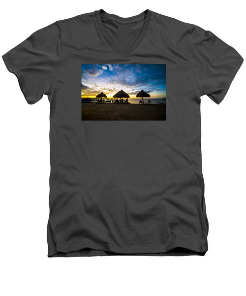 Island Huts Sunset Men's V-Neck T-Shirt by Kevin Cable