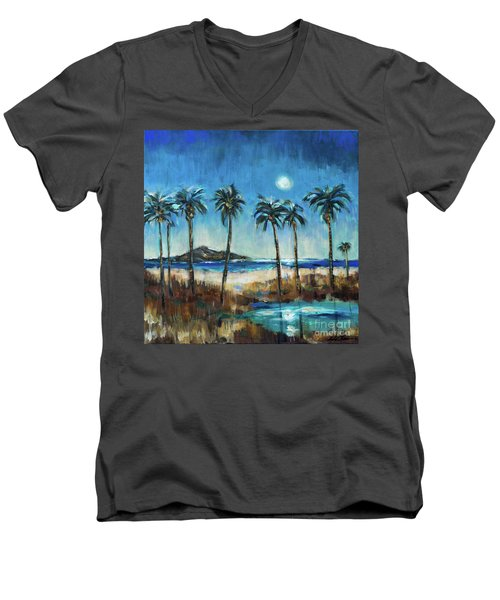 Island Lagoon At Night Men's V-Neck T-Shirt