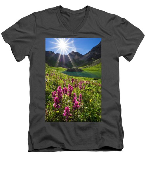 Island Lake Flowers Men's V-Neck T-Shirt