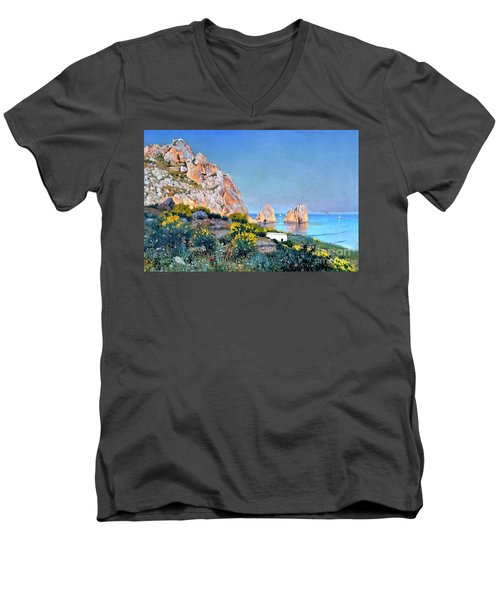 Men's V-Neck T-Shirt featuring the painting Island Of Capri - Gulf Of Naples by Rosario Piazza