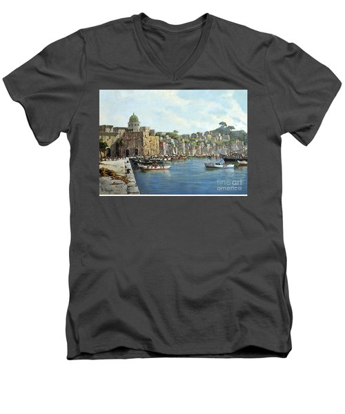Men's V-Neck T-Shirt featuring the painting Island Of Procida - Italy- Harbor With Boats by Rosario Piazza