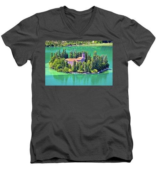 Island Of Visovac Monastery In Krka  Men's V-Neck T-Shirt by Brch Photography