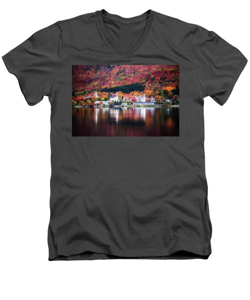 Island Pond Vermont Men's V-Neck T-Shirt by Sherman Perry