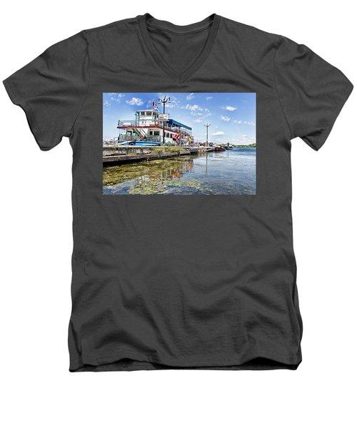 Island Princess At Harbour Dock Men's V-Neck T-Shirt