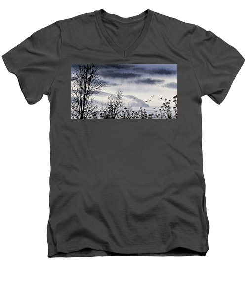 Men's V-Neck T-Shirt featuring the painting Island Solitude by James Williamson