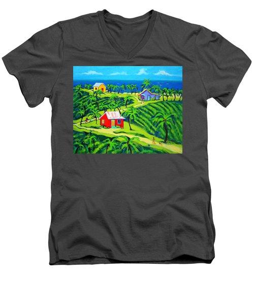 Island Time - Colorful Houses Caribbean Cottages Men's V-Neck T-Shirt