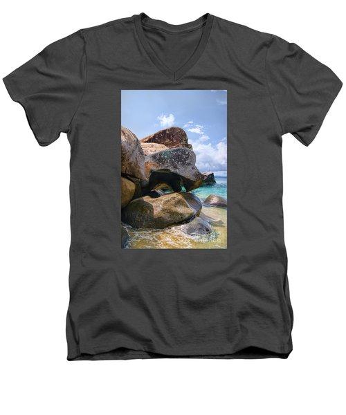 Island Virgin Gorda The Baths Men's V-Neck T-Shirt