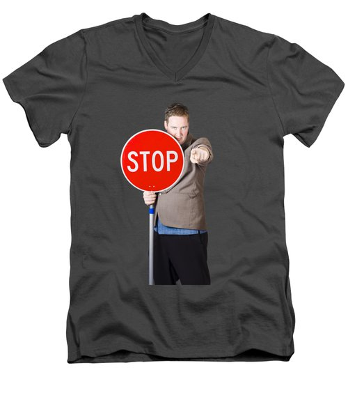 Men's V-Neck T-Shirt featuring the photograph Isolated Man Holding Red Traffic Stop Sign by Jorgo Photography - Wall Art Gallery