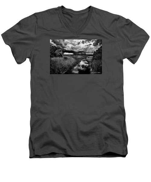 Isolated Shower - Bw Men's V-Neck T-Shirt by Christopher Holmes