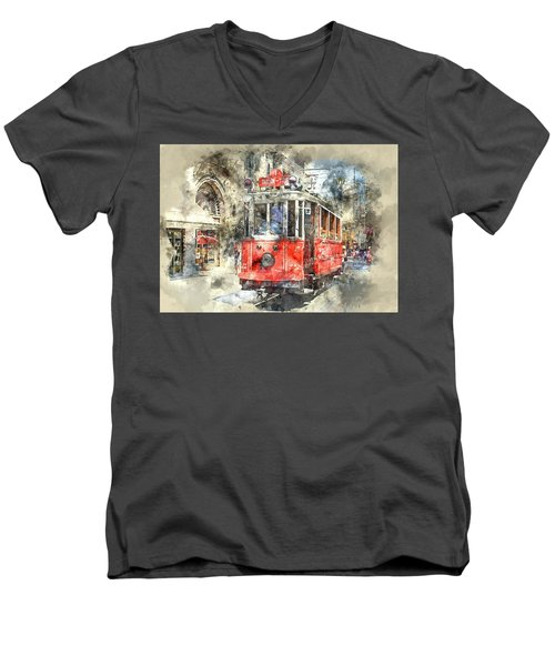 Istanbul Turkey Red Trolley Digital Watercolor On Photograph Men's V-Neck T-Shirt