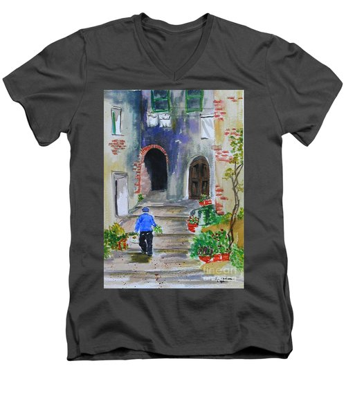 Italian Alleyway Men's V-Neck T-Shirt by Lynda Cookson