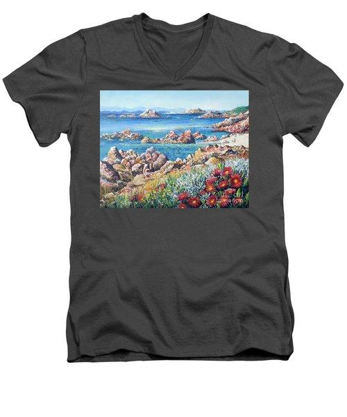 Italian Coastline Men's V-Neck T-Shirt by Lou Ann Bagnall