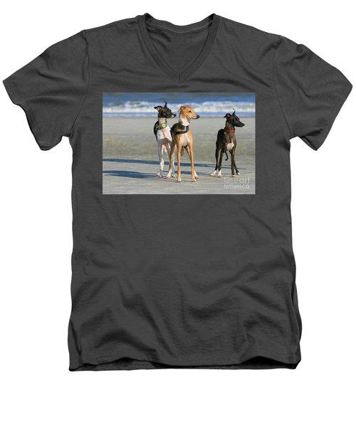 Italian Greyhounds On The Beach Men's V-Neck T-Shirt